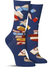 Fun women's novelty socks with books
