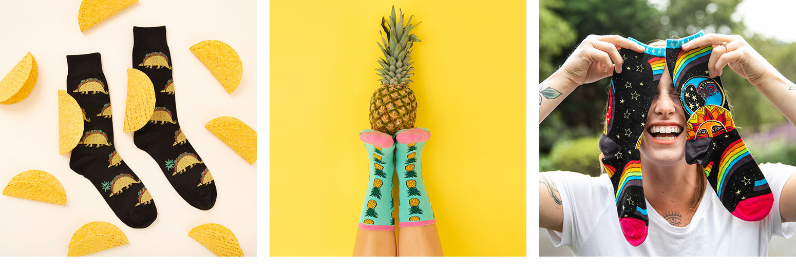 A variety of fun novelty socks