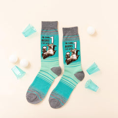 "Funny men's socks that say, ""In dog beers, I've only had one"""