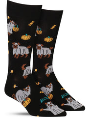 Funny Halloween socks with cats and dogs dressed as ghosts