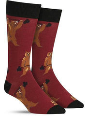 Funny men's socks with bears lifting weights