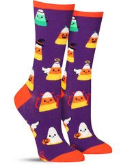 Funny candy corn socks for women for Halloween