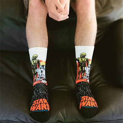 star wars themed socks with droids