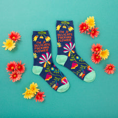 "Funny women's socks that say, ""I'm a delicate fucking flower"""