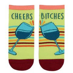 "Funny wine socks that say, ""Cheers, bitches"""