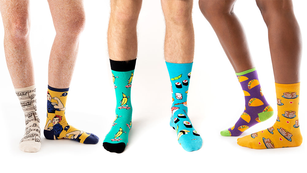 people's legs wearing crazy socks