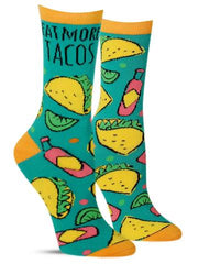 "Funny women's socks that say, ""Eat more tacos"""