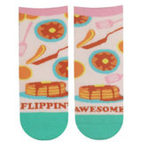 "Cute pancake ankle socks that say, ""Flippin' awesome"""