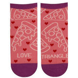 "Funny pizza socks that say, ""Love triangle"""