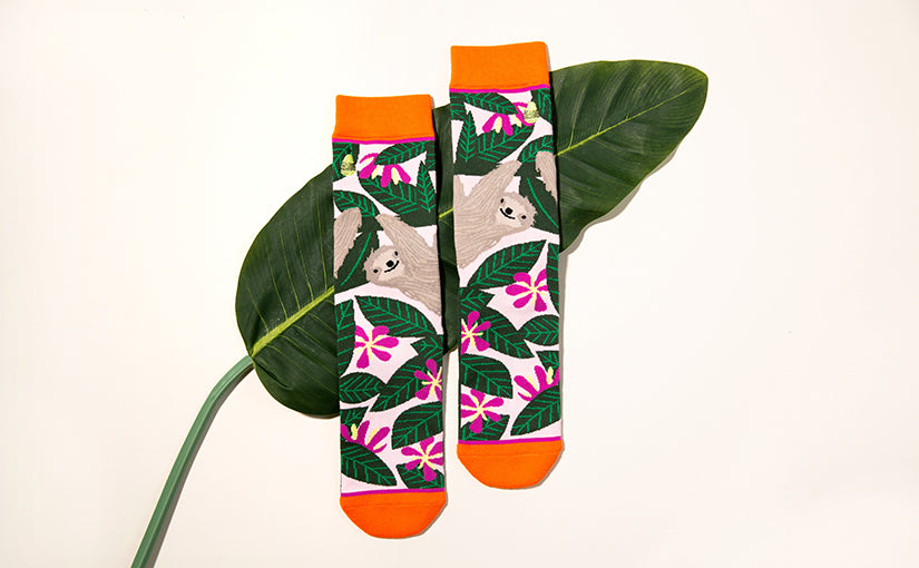 cute sloth socks for women by Woven Pear