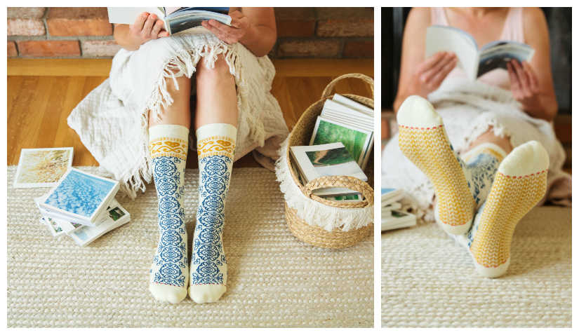 Cute hygge pattern socks by Woven Pear