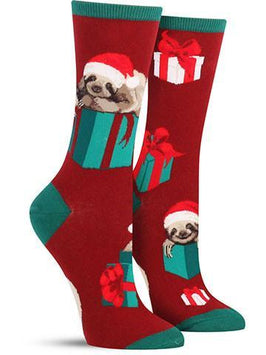 Cool Christmas socks for women with sloths wearing Santa hats and lying on presents