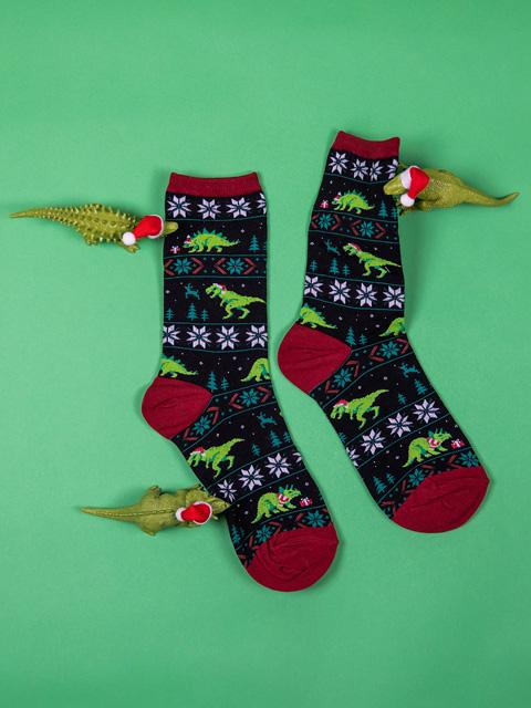 cute women's Christmas socks with dinosaurs wearing Santa hats