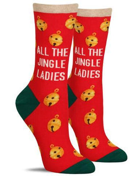 "Colorful Christmas socks for women with gold jingle bells and the words, ""All the jingle ladies"" set against a red background"