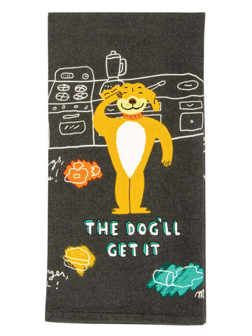 "Funny dish towel with food on the floor and the words ""The dog'll get it"""
