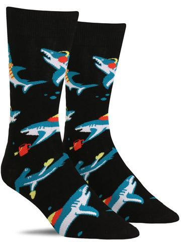 Funny men's holiday socks with sharks wearing mittens, scarves and hats