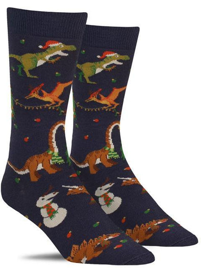 Fun men's animal socks with various dinosaurs putting lights on a Christmas tree