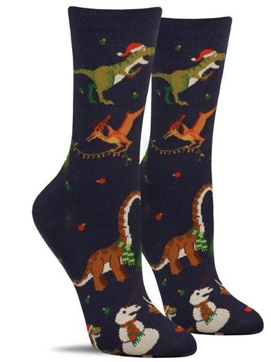 Funny women's Christmas socks with a variety of dinosaurs putting lights on Christmas trees