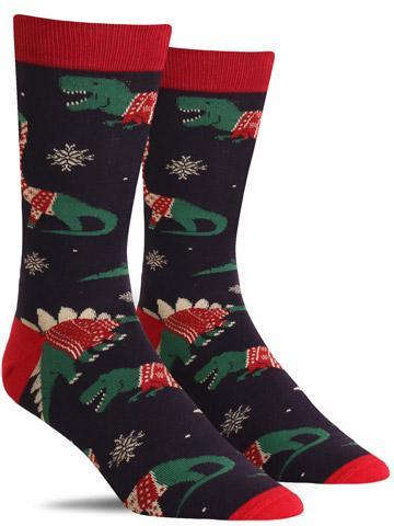 Funny XL Christmas socks with dinosaurs wearing ugly holiday sweaters