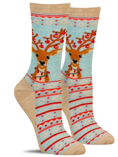 Cute women's non-skid Christmas socks with a reindeer wearing Christmas lights and ornaments on his antlers