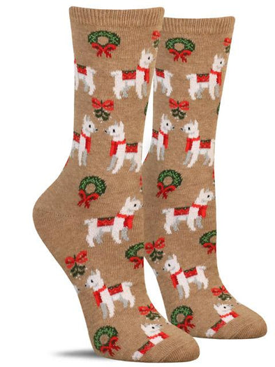 Cute women's Christmas socks with a pattern of wreaths and llamas wearing red scarves