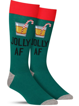 "Funny men's Christmas socks in green that have a cocktail and say, ""Jolly AF"""