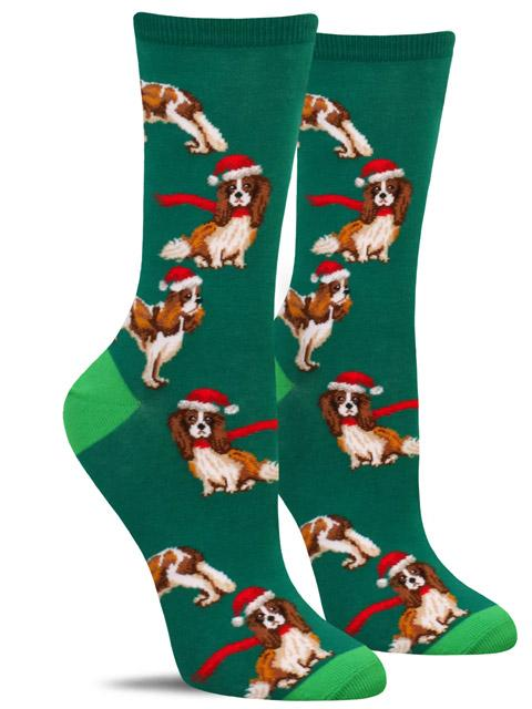 Cute women's Christmas socks with dogs wearing scarves or Santa hats