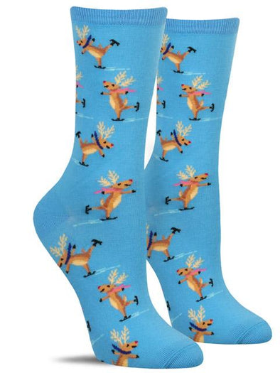 Fun women's animal socks with a pattern of ice-skating reindeer