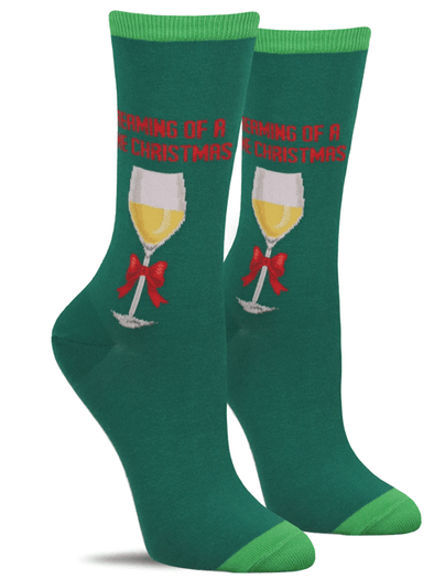 "Funny women's Christmas socks with a wine glass and the words, ""I'm dreaming of a wine Christmas"""