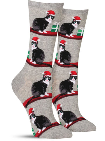 Fun women's Christmas socks in gray with a cat in a Santa hat