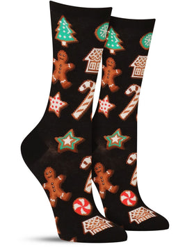 Women's Christmas cookie novelty socks in black