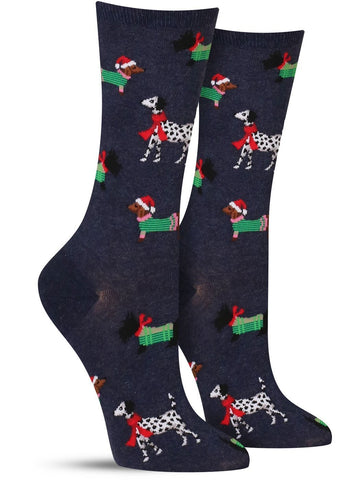 Fun dog socks in blue for Christmas with different kinds of dogs all dressed up