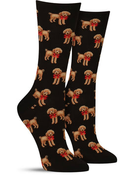 Cute Christmas dog socks with a brown poodle wearing a bow