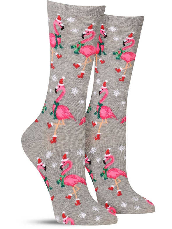 Funny tropical holiday socks, in gray, featuring flamingos dressed in Santa hats