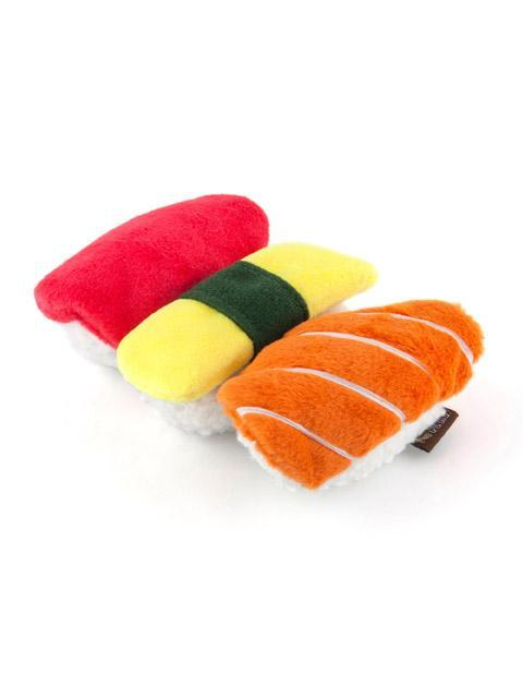 Cute interactive dog toy that looks like three pieces of sushi