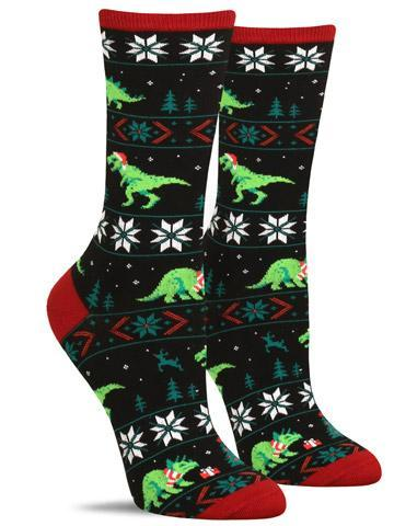 Funny Christmas dinosaur socks in black with three different dinosaurs in Santa hats