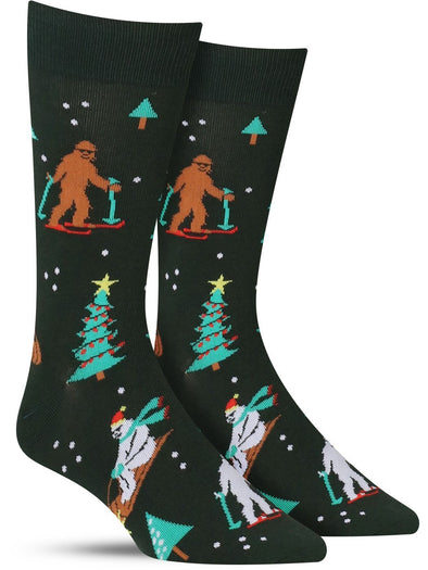 Funny holiday socks for men with Bigfoot and the Abominable Snowman