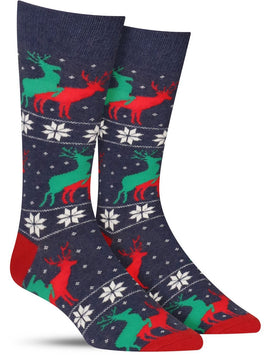 Funny men's Christmas socks with reindeer humping in an ugly sweater pattern