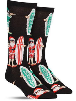 Surf Santa Crazy Christmas Novelty Socks for Men