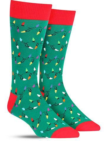 christmas lights fun mens holiday socks