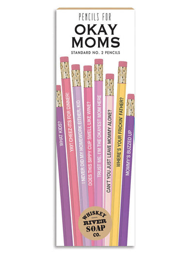 A set of 8 Standard No. 2 pencils with funny slogans for moms