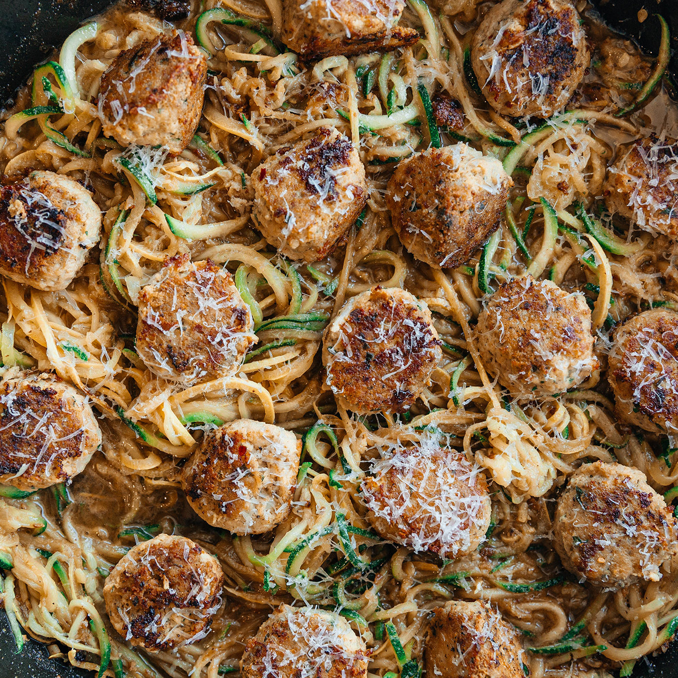Keto Chicken Meatballs with Browned Butter Zoodles & Manchego
