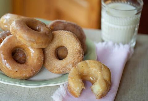 Homemade Donuts with Vanilla Bean Glaze and Cinnamon Sugar