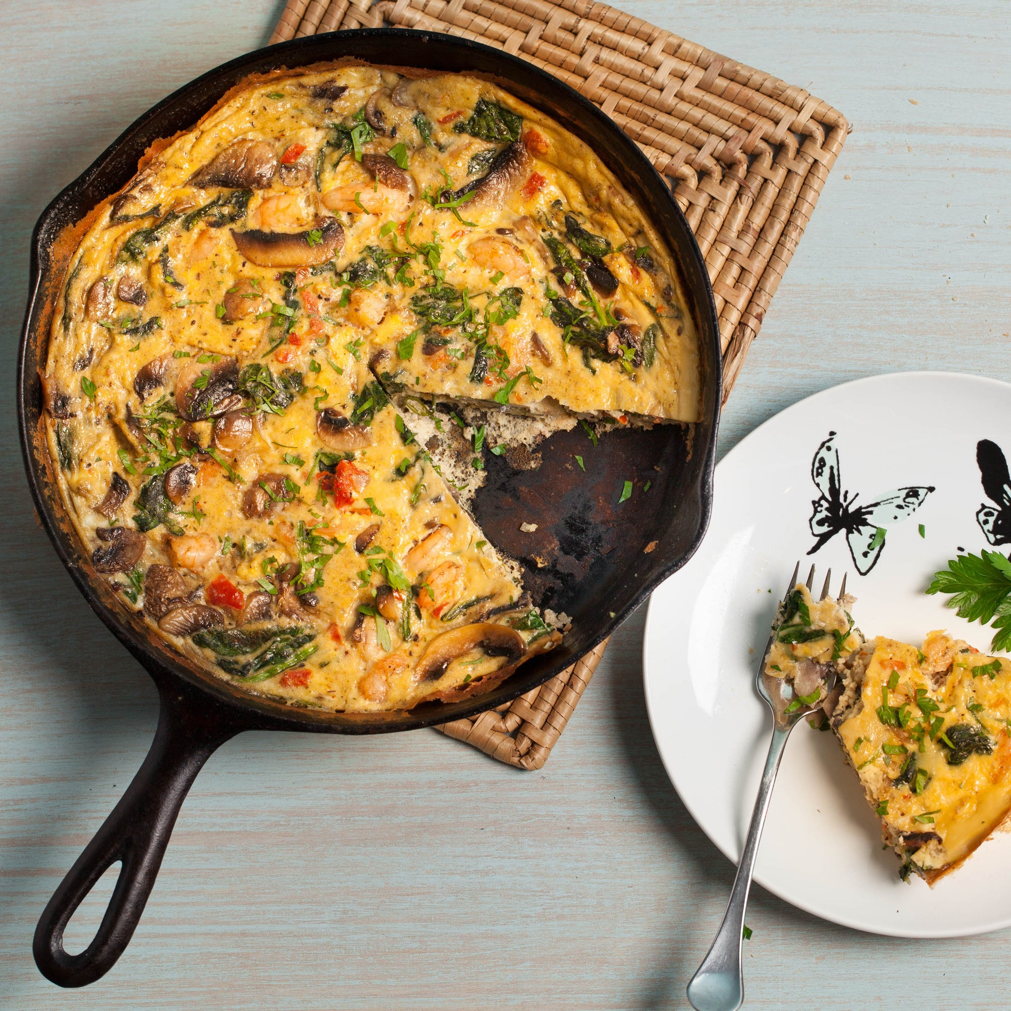 Shrimp, Spinach and Mushroom Frittata