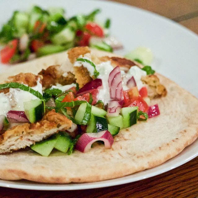 Greek Chicken Pita with Cucumber Mint Salad