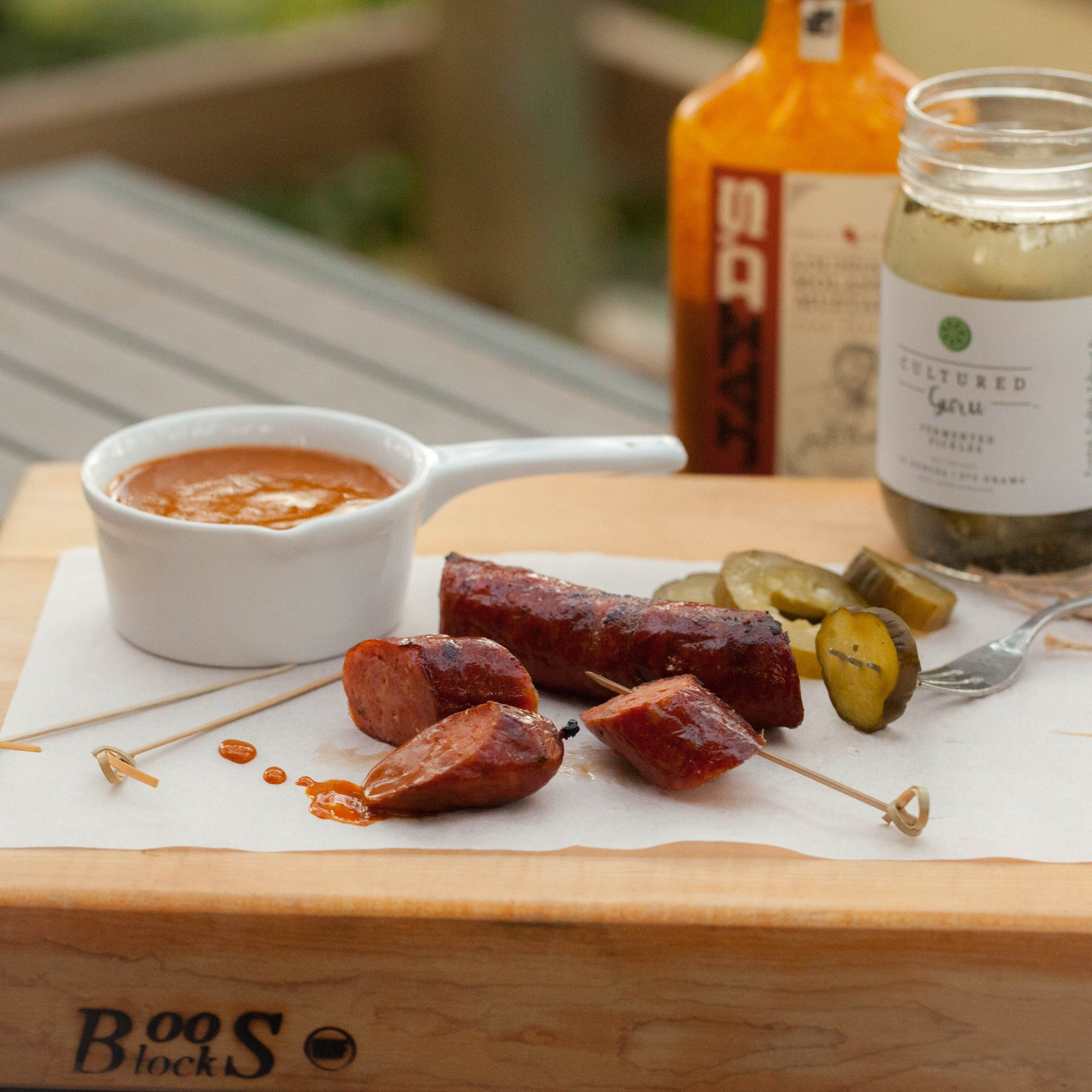 Smoked Sausage with Fermented Pickles and Molasses Mustard