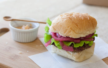 Bison Burgers with Smoky Mayo and Quick Pickled Onions Recipe