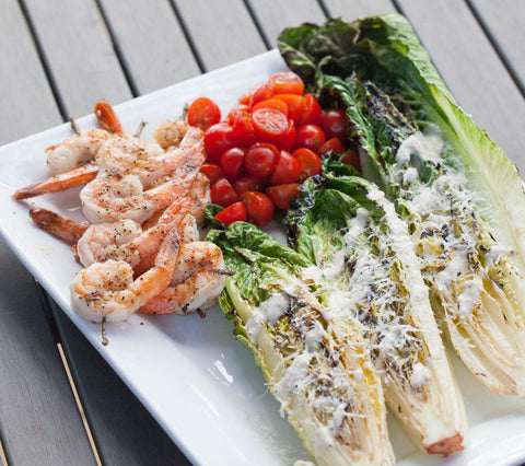 Grilled Romaine with Cilantro Lime Shrimp Skewers