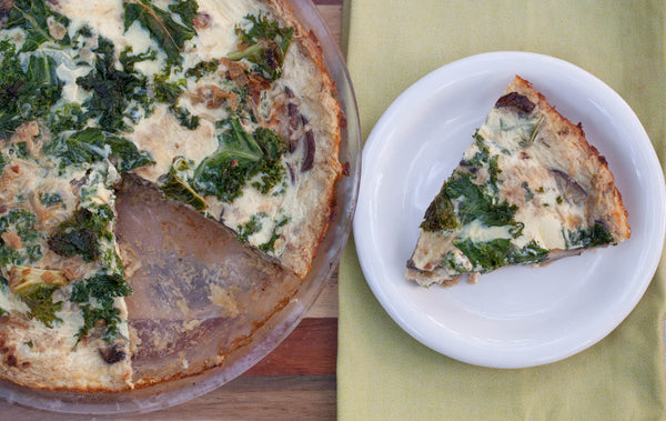 Mushroom & Kale Quiche with Spaghetti Squash Crust Recipe
