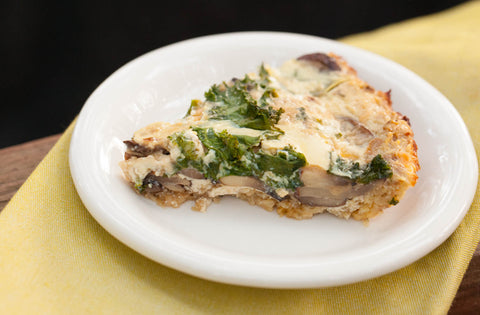 Recipe for Mushroom and Kale Quiche with Spaghetti Squash Crust